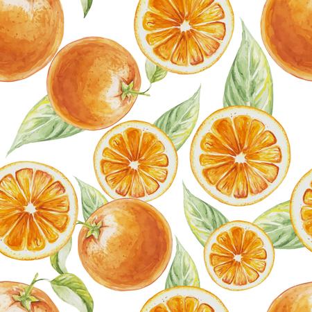 オレンジの果実が葉の水彩のシームレスなパターン。オレンジの柑橘類の図。エコ食品イラスト  イラスト・ベクター素材