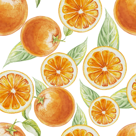 Watercolor seamless pattern of orange fruit with leafs. illustration of citrus orange fruits. Eco food illustration