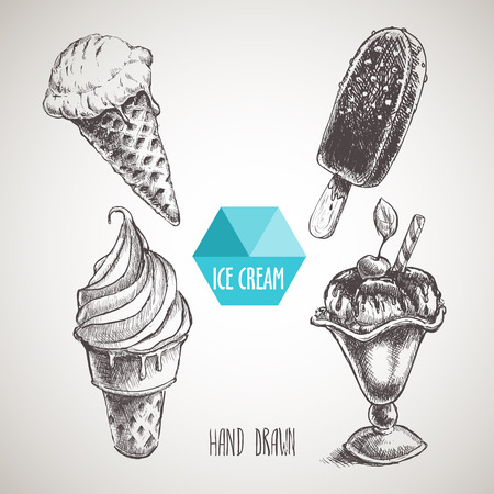helados con palito: Conjunto de helado del estilo del bosquejo dibujado a mano. cono de helado un helado chokolate