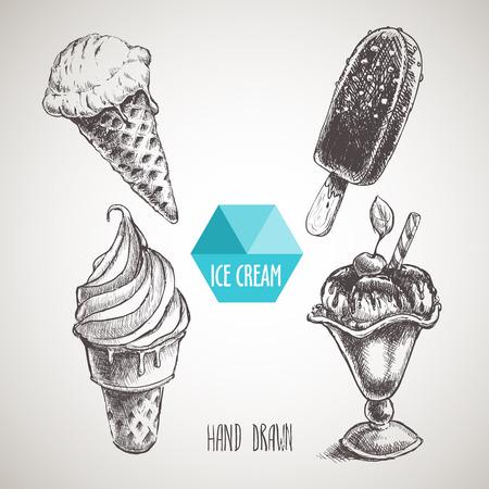 Set of hand drawn sketch style ice cream. Ice cream cone an chokolate ice cream