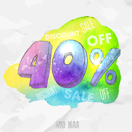 forty: Vector spot watercolor background with hand drawn sketch style lettering 40 (forty) percent. Doodle discount illustration