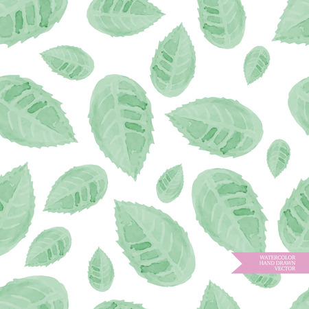 folliage: Watercolor hand drawn and painted seamless folliage pattern. Vintage green design for greeting cards an wedding invitations.