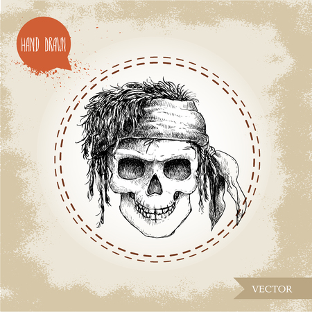 mortal: Hand drawn sketch style human skull with dreads and bandana. Pirate symbol. Jolly Roger. Vintage style illustration.