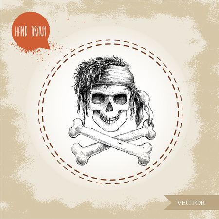 crossbone: Hand drawn sketch style human skull with dreads, bandanaand bones. Pirate symbol. Jolly Roger. Vintage style illustration. Illustration