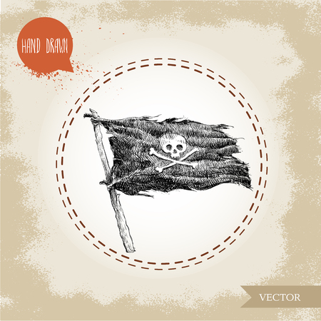 black flag: Hand drawn sketch style pirate vector black flag with human skull and crossbones. Jolly Roger. Hand drawn illustration in vintage design.