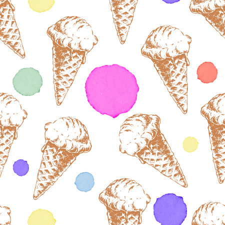 waffle ice cream: Seamless pattern with cone waffle ice cream and colorful watercolor drops. sketch illustration for ice cream menu and textile.