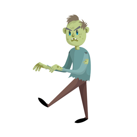 Walking cartoon man zombie character. Halloween simple gradient vector. Trendy design. Illustration