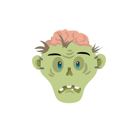 Zombie head disapointed emotion icon isolated on white background. Halloween avatar simple gradient vector. Illustration