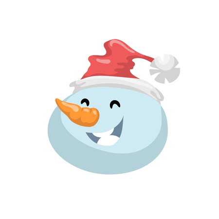 carrot nose: Cute snowmen in hat head emotion vector avatar. Cartoon  expression isolated face character. Simple gradient mascot head.