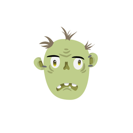 Zombie head spooky emotion icon isolated on white background. Halloween avatar simple gradient vector.