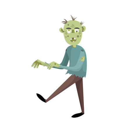 Walking cartoon man zombie spooky scary character. Halloween party simple gradient vector. Trendy flat design.