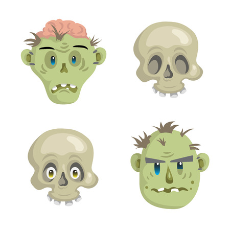 scull: Cartoon scull and zombies mask set. Trendy simple gradient Halloween party icon. Illustration