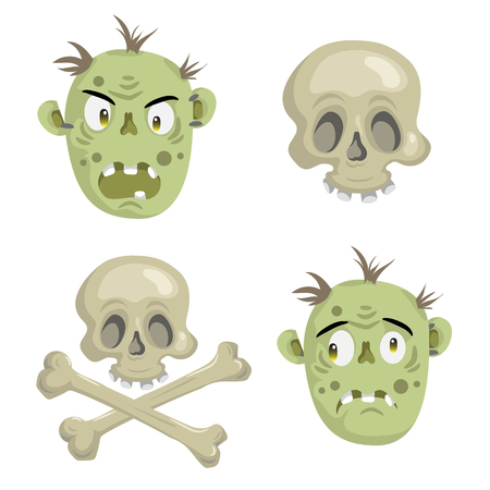 scull: Cartoon scull and zombies mask set. Trendy  Halloween party vector icon. Illustration