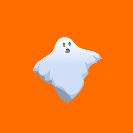 Cartoon scary ghost icon. Halloween simple gradient character isolated on orange background.