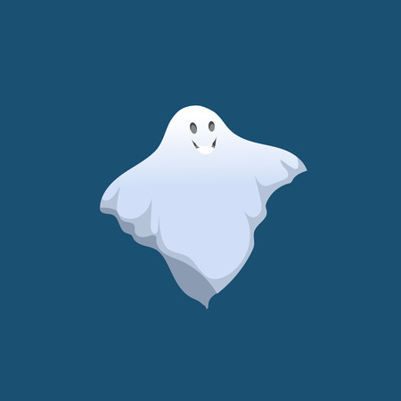 Cartoon smiling ghost icon. Halloween simple gradient character isolated on blue background.