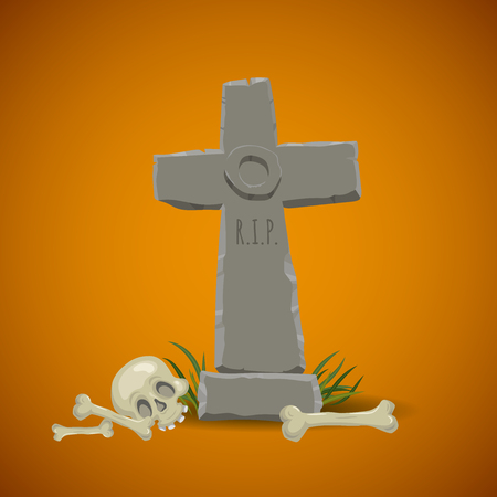 Cartoon old looking christian cross tombstone with skull and crossbones. Halloween symbol icons template.