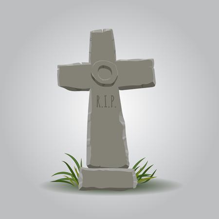 Cartoon oude zoek christelijk kruis grafsteen. symboolpictogram Halloween. Vector Illustratie