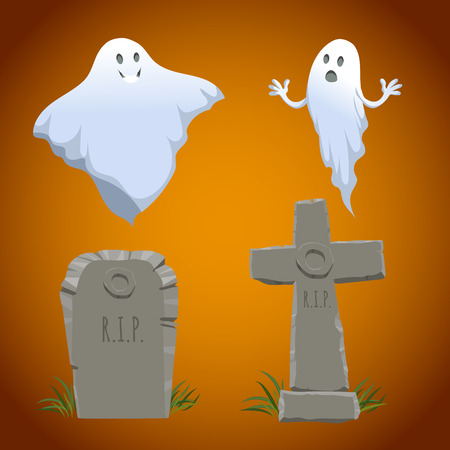 christian halloween: Cartoon halloween icons set. Old looking christian cross tombstone , simple tombstone and two type of ghosts. Halloween symbols. Illustration