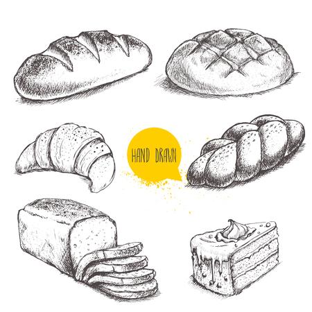 Ensemble de boulangerie à la main dessiné à la main. Pain et pâtisseries sur fond blanc.