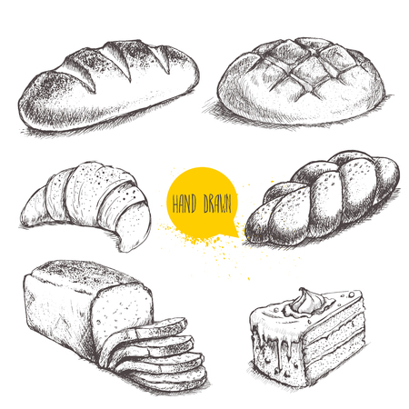 Vintage hand drawn sketch style bakery set. Bread and pastry sweets on white background. 向量圖像