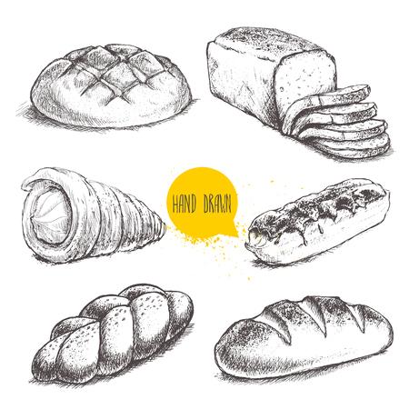 ヴィンテージ手描きスケッチ フレッシュ スタイルのパン屋さんセット。パン、クリーム ロール、チューブ、白い背景の上のエクレアです。  イラスト・ベクター素材