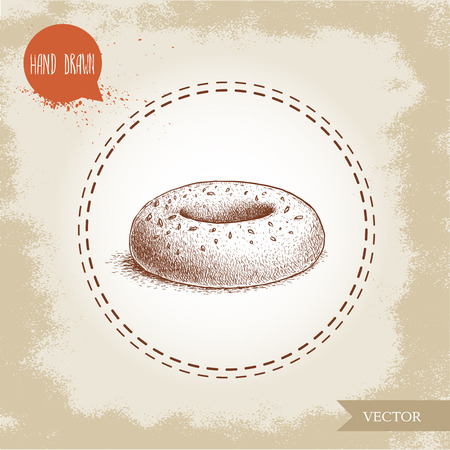 Hand drawn sketch style sesame bagel. Daily fresh bakery illustration.