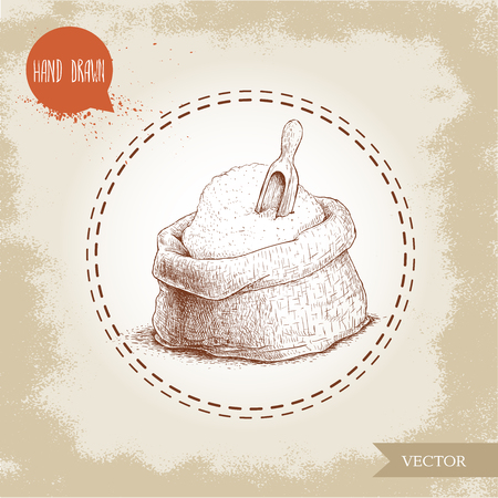 Hand drawn sketch style sack with whole flour with wooden scoop.