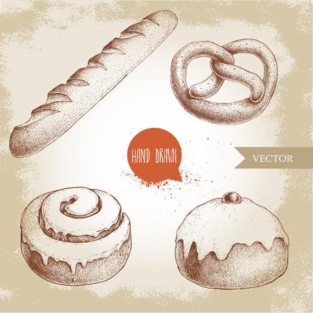 手描きスケッチ スタイル ベーカリー商品イラスト セット。新鮮な塩プレッツェル、フランスパン、アイス シナモン ロール、桜のアイス饅頭。毎日  イラスト・ベクター素材