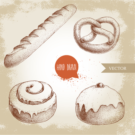 Hand drawn sketch style bakery goods illustrations set. Fresh salted pretzel, french baguette, iced cinnamon bun and iced bun with cherry. Daily product. Fresh-baked bread.
