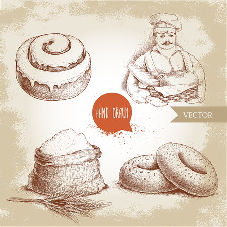 Hand drawn set bakery illustrations. Baker with baker basket of fresh bread, sesame bagels, iced sweet cinnamon bun and sack with whole flour with wheat bunch. Çizim