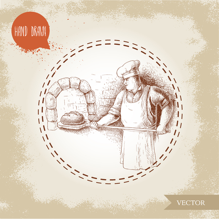wheaten: Hand drawn illustration of baker making fresh bread in stone oven. Sketch style vector vintage illustration. Man in uniform preparing daily bread goods. Illustration