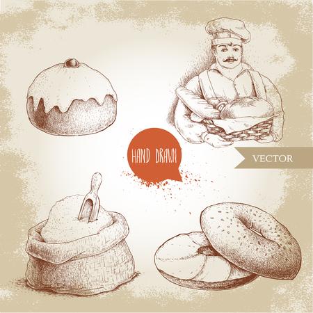Handgezeichnete Bäckerei Illustrationen. Bäcker mit Bäckerkorb mit frischem Brot, Sesambagel mit Frischkäse, gefrorenes süßes Brötchen mit Kirsche und Sack mit ganzem Mehl mit Holzschaufel. Standard-Bild - 75174316