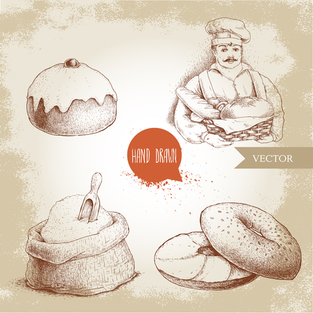 Hand drawn set bakery illustrations. Baker with baker basket of fresh bread, sesame bagel with cream cheese, iced sweet bun with cherry and sack with whole flour with wooden scoop.