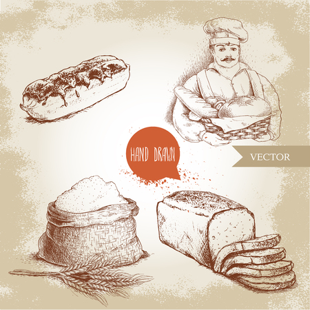 Hand gezeichnete Satzbäckereiillustrationen. Bäcker mit Bäckerkorb des frischen Brotes, des geschnittenen Brotlaibs, des süßen französischen Kuchens Eclair und des Sacks mit ganzem Mehl mit Weizenbündel. Standard-Bild - 75204864