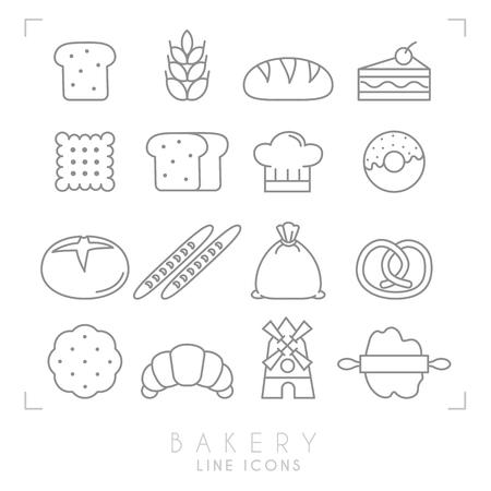 german food: Set of line bakery icons. Flat style. Bread slice, wheat, bun, cake with cherry, biscuit, chef hat. Illustration
