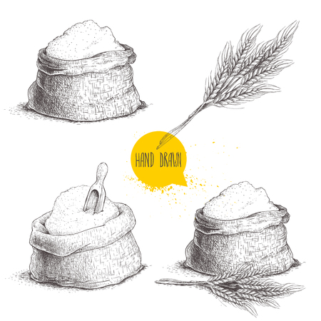 Hand drawn sketch style set of sacks with whole flour and wheat bunch isolated on white background.