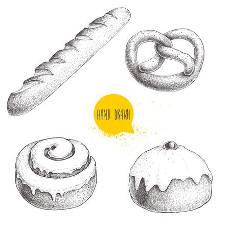 Hand gezeichnete Skizzenartbäckerei-Warenillustrationen stellten lokalisiert auf weißem Hintergrund ein. Frische Salzbrezel, französisches Baguette, gefrorenes Zimtbrötchen und gefrorenes Brötchen mit Kirsche Standard-Bild - 76556667