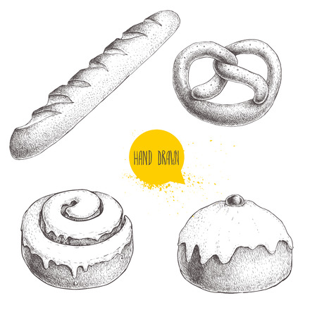 Hand drawn sketch style bakery goods illustrations set isolated on white background. Fresh salted pretzel, french baguette, iced cinnamon bun and iced bun with cherry. Illustration