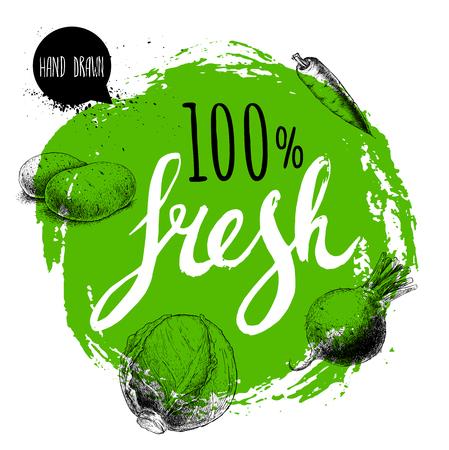 農家の 100% の新鮮な野菜は、テンプレートをデザインします。手で緑の大まかな円を描いた文字。彫刻スケッチ スタイル野菜。ジャガイモ、ニンジ  イラスト・ベクター素材