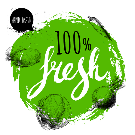 Farmer 100% fresh veggies design template. Green rough circle with hand painted letters. Engraving sketch style vegetables. Potatoes, carrot, beet root and cabbage. Hand drawn design.