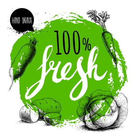 農家の 100% の新鮮な野菜は、テンプレートをデザインします。手で緑の大まかな円を描いた文字。彫刻スケッチ スタイル野菜。ジャガイモ、carrotwith