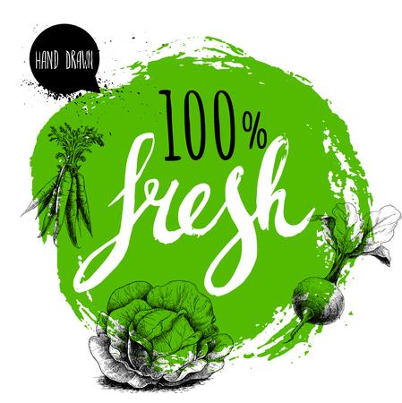 農家の 100% の新鮮な野菜は、テンプレートをデザインします。手で緑の大まかな円を描いた文字。彫刻スケッチ スタイル野菜。ニンジンの束、ビー