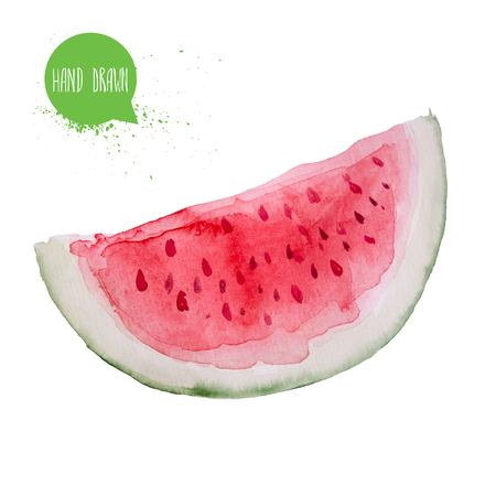 Hand drawn and painted watercolor watermelon slice