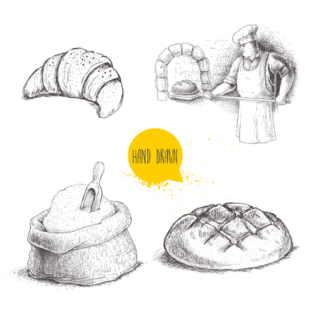Hand drawn set bakery illustrations. Baker making fresh bread in stone oven,croissant, fresh bread loaf, wheat flour sack with wooden scoop. vector drawing isolated on white background.