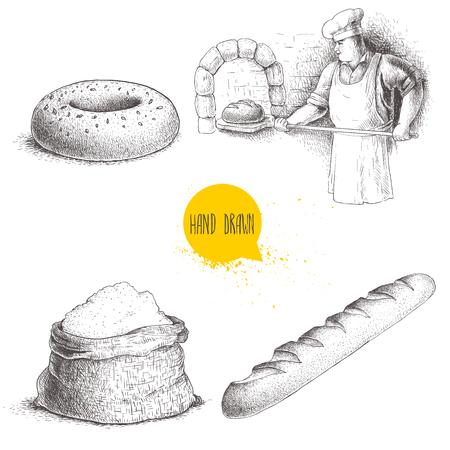 手描きのセットのパン屋さんのイラスト。石窯で焼きたてのパンを作るパン屋、胡麻ベーグル、焼きたてのバゲットと小麦粉袋します。ベクトルは