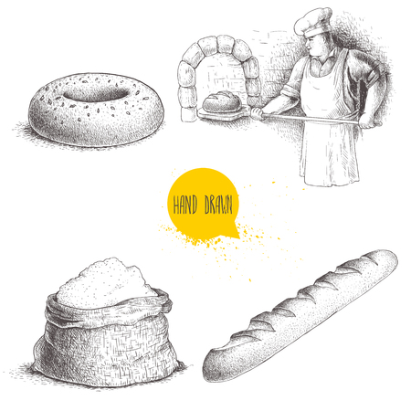 Hand drawn set bakery illustrations. Baker making fresh bread in stone oven, sesame bagel, fresh baguette and flour sack. Vector set isolated on white background. Иллюстрация