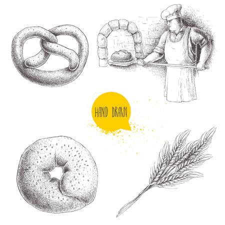 手描きのセットのパン屋さんのイラスト。石窯で焼きたてのパンを作るパン屋、胡麻ベーグル、ドイツのプレッツェルと小麦の束します。パン屋さ  イラスト・ベクター素材