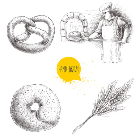 Hand drawn set bakery illustrations. Baker making fresh bread in stone oven, sesame bagel, german pretzel and wheat bunch. Bakery and mill vector illustration isolated on white background.