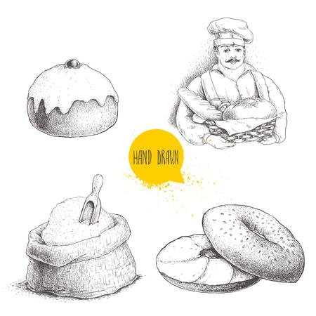 Hand getrokken set bakkerij illustraties. Bakker met een mand met vers brood, sesam bagel met roomkaas, een ijskoude zoete knot met kersen- en meelzak. Vectortekeningen op witte achtergrond worden geïsoleerd. Stockfoto - 77982209