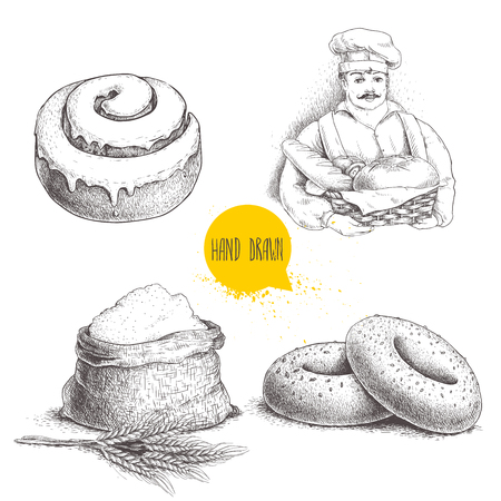 Hand drawn set bakery illustrations. Baker with  fresh bread, sesame bagels, iced sweet cinnamon bun and sack with whole flour with wheat bunch. Vector illustrations isolated on white background. Çizim
